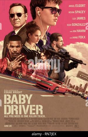 BABY DRIVER, MOVIE POSTER, 2017 - Stock Image