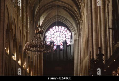 Notre Dame Cathedral Interior Notre Dame de Paris Paris France Europe - Stock Image