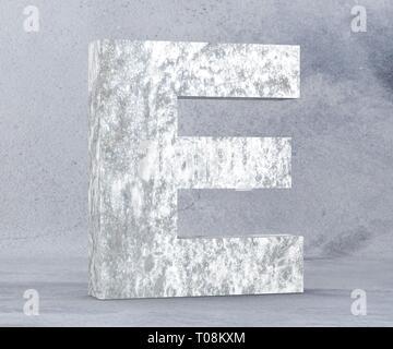 Concrete Capital Letter - E isolated on white background. 3D render Illustration - Stock Image