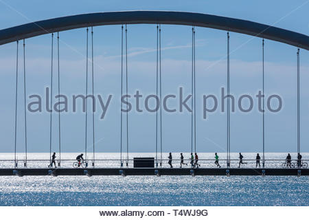 Humber Bay Arch Bridge on the Martin Goodman Trail on the western waterfront of Lake Ontario in Toronto Ontario Canada - Stock Image