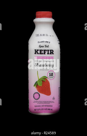 New York, November 12, 2018: Bottle of low fat strawberry kefir from Trader Joe's. - Stock Image