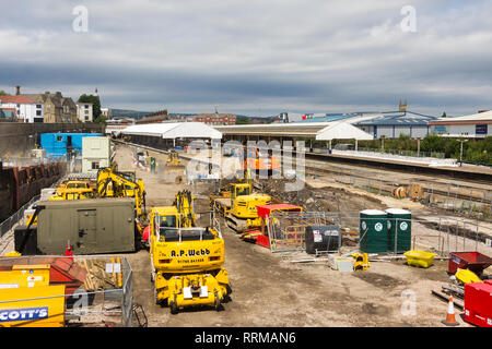 Constuction machinery, supplied by A.P.Webb, a specialist railway construction contractor, involved in the reconstruction of platform five at Bolton. - Stock Image