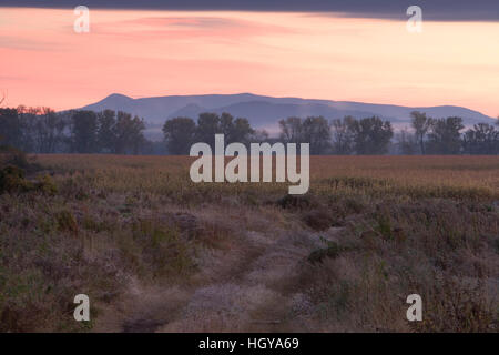 A farm at sunrise in Lunenburg, Vermont. - Stock Image