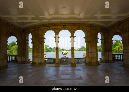 Looking out onto Hever Lake from the interior of the Loggia, Hever Castle & Gardens, Hever, Edenbridge, Kent, - Stock Image