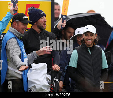 Portrush, County Antrim, Northern Ireland. 17th July 2019. The 148th Open Golf Championship, Royal Portrush Golf Club, Practice day ; Tommy Fleetwood (ENG) enjoys a joke on the 14th tee Credit: Action Plus Sports Images/Alamy Live News - Stock Image