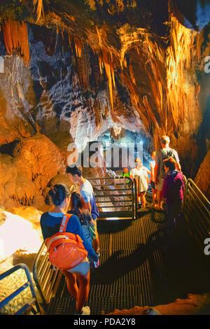 Fluminimaggiore, Sardinia, Italy - August 07, 2018: Tourists visit the cave of 'Su Mannau' (translation: Great Cave) - Stock Image