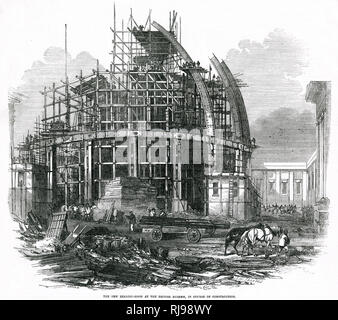 The construction of the Reading Room at the British Museum. - Stock Image