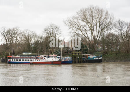 Kew Gardens Pier on the River Thames in London, UK - Stock Image