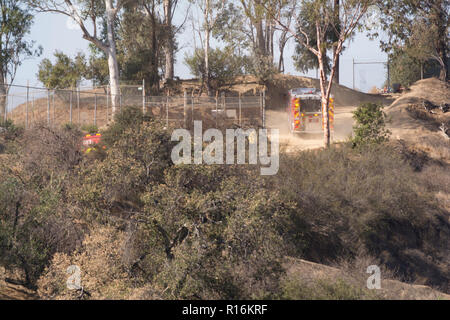 Los Angeles, California, USA. 9th Nov, 2018. Los Angeles Fire Engine 11 on a dirt road at the Griffith Park brush fire. Credit: Chester Brown/Alamy Live News - Stock Image