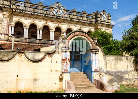 Chettinad mansion in Kanadukathan. Chettiars were rich, 19th-century merchants and bankers from the Chettinad region, Tamil Nadu, India. - Stock Image