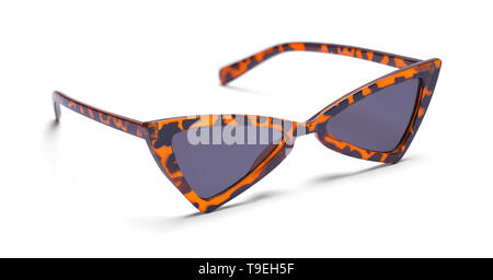 Pointed Leopard Print Sunglasses Isolated on White Background. - Stock Image