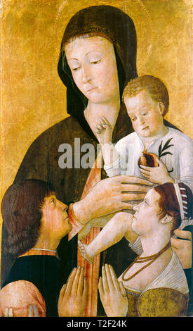 Gentile Bellini, Madonna with child and two donors, painting, c. 1460 - Stock Image
