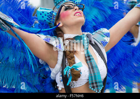 Young woman performing at the Mealhada Carnaval parade Brazilian style, Theme being At School or  A Escola -  Quando - Stock Image