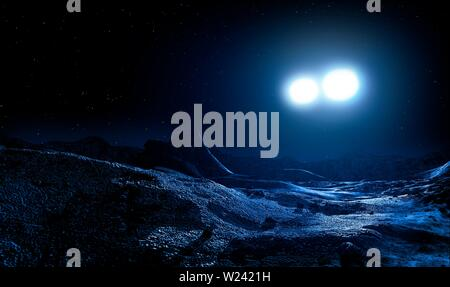 Illustration of a contact binary star seen from the surface of an orbiting world. - Stock Image