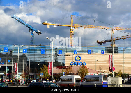 Construction ongoing in Riga city center, Latvia - Stock Image