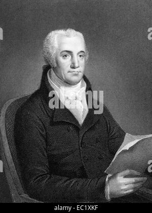 Joel Barlow (1754-1812) on engraving from 1834.  American poet, diplomat and politician. - Stock Image
