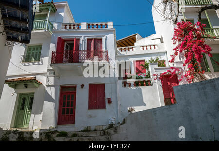 Houses in Skopelos Town, Northern Sporades Greece - Stock Image