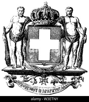 Coat of arms of Greece, ,  (cultural history book, 1875) - Stock Image