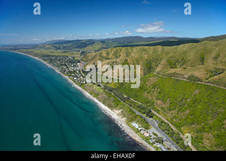 State Highway One at Paekakariki, north of Wellington, North Island, New Zealand - aerial - Stock Image