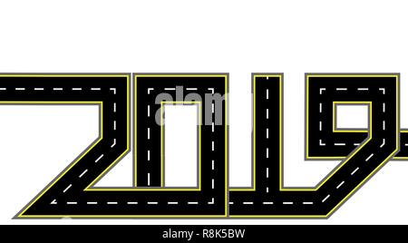 2019 New Year. The road is stylized in the form of an inscription.Isolated. illustration - Stock Image