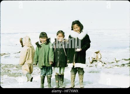 Eskimo children at the Arctic Ocean; Point Barrow, Alaska. - Stock Image