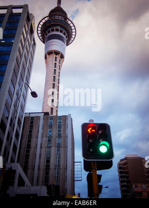 Auckland Skytower and traffic lights - Stock Image