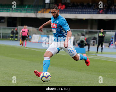 Verona, Italy. 14th Apr, 2019. Stadio Marcantonio Bentegodi, Verona, Italy. 14th Apr, 2019. Serie A football, Chievo versus Napoli; Faouzi Ghoulam of Napoli crosses the ball Credit: Action Plus Sports Images/Alamy Live News - Stock Image