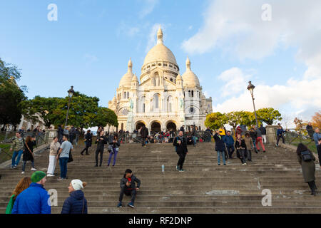 PARIS, FRANCE - NOVEMBER 9, 2018 - Basilica of the Sacred Heart of Paris, or Montmartre Sacré-Cœur, is a popular landmark and the 2nd most visited mon - Stock Image