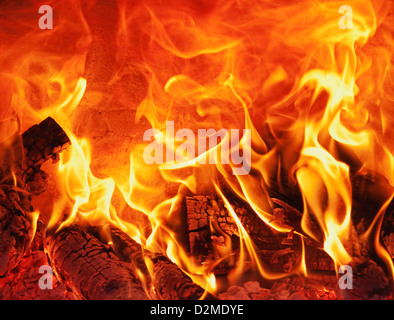 fire in clay oven - Stock Image