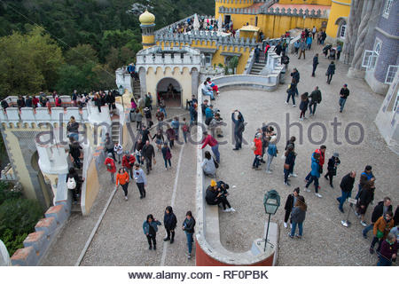 Crowds of tourists at the National Palace of Pena, Sintra Portugal - Stock Image