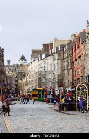 EDINBURGH, SCOTLAND - FEBRUARY 9, 2019 - The Royal Mile is the heart of Edinburgh's Old Town - Stock Image