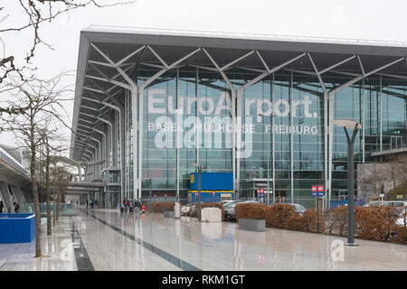 EuroAirport Basel Mulhouse Freiburg - France/Switzerland, Europe - an unusual airport because the building is split between two countries - Stock Image