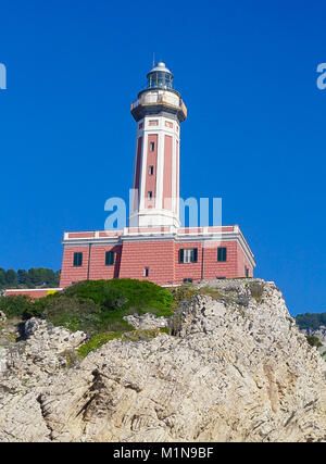 The Lighthouse on the cliff at Punta Carena on the island of Capri, Italy - Stock Image