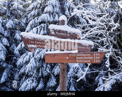 Winter landscape, signpost showing directions, loipe, cross country skiing area,  near Hanskühnenburg, Harz - Stock Image