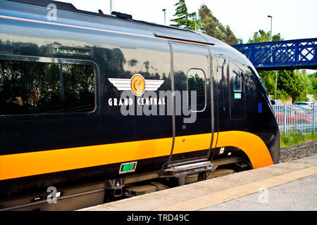 Grand Central Train, Eaglescliffe Railway Station, Eaglescliffe, Stockton on Tees, Cleveland, England 2nd June 2019 - Stock Image