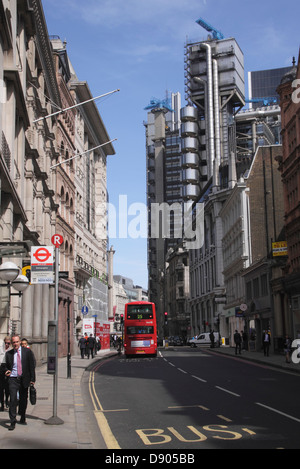 View along Cornhill London Lloyds building in background - Stock Image
