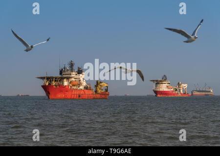 Offshore Support / Tug / Supply Vessels, Mumbai, India - Stock Image