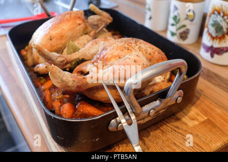 Two roasted chickens cooked in Cider with vegetables Spanish style - one pot home cooking - Stock Image