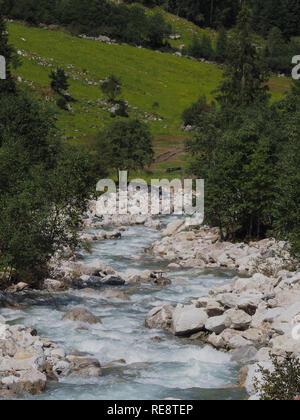 Mountain stream in alps - Stock Image