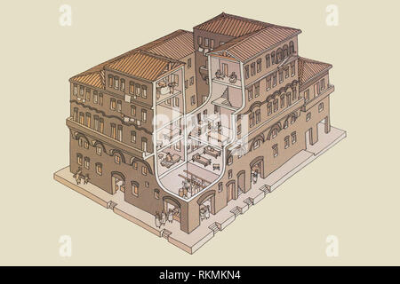 Cordoba, Spain - July 14th, 2017: Roman Insulae or apartment building. Historical reconstruction drawing at Archaeological Museum of Cordoba, Spain - Stock Image