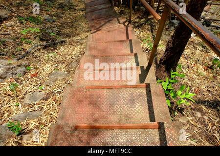 Metal Path Way in Mountain. - Stock Image