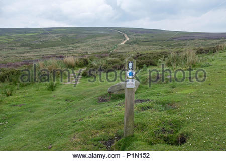Wooden direction sign at Bloworth Crossing on the Cleveland Way national trail in the North York Moors, North Yorkshire, UK - Stock Image