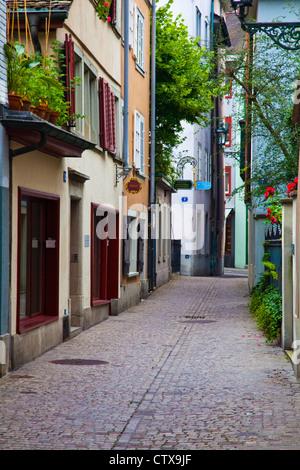 A street scene along Predigergasse in Zurich, Switzerland - Stock Image