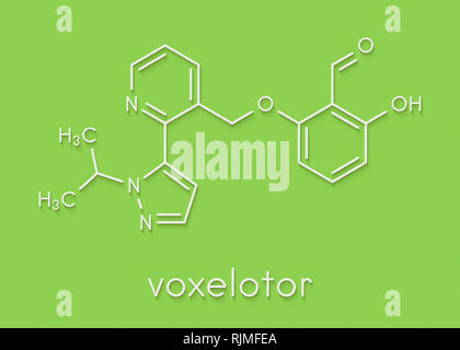 Voxelotor sickle cell disease drug molecule Skeletal formula. - Stock Image