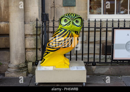 Inkie Hoots part of the Minervas owls of Bath trail outside the pump rooms in the city of Bath - Stock Image