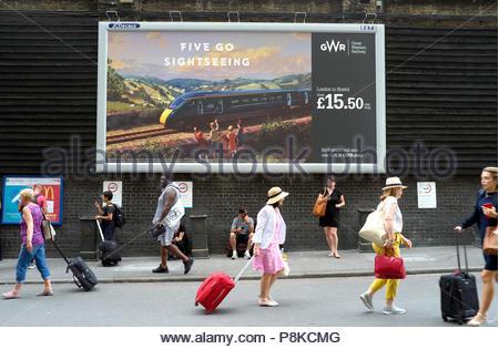 Train travel - rail journey advert for GWR, passenger fare for London to Bristol advertised. London Paddington station, London, UK. - Stock Image