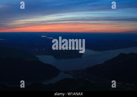 Colorful sky over Lake Lucerne, Switzerland. - Stock Image