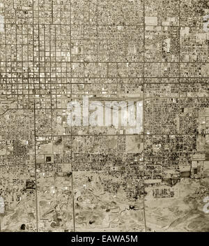 historical aerial photograph of Phoenix, Arizona, 1961 - Stock Image