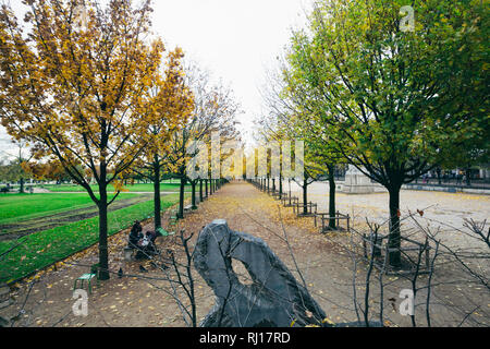 PARIS, FRANCE - NOVEMBER 10, 2018 - Garden of Tuileries (Jardin des Tuileries) outside the Louvre in Paris, France - Stock Image