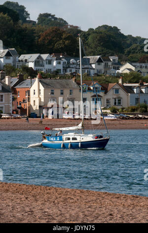 Boating and Sailing on The Teign Estuary, with Shaldon Village across the water, viewed from The Back Beach, Teignmouth, - Stock Image